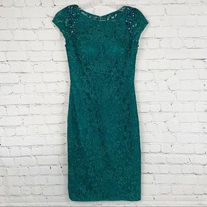 Lá Femme Green Lace Green Knee Length Dress, SZ 2